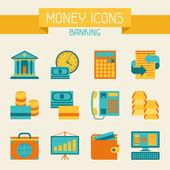 钱和银行图标集. — 图库矢量图片