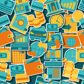 Naadloze patroon van banking pictogrammen. — Stockvector