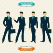 Silhouettes of businessmen in retro style. — Stock Vector
