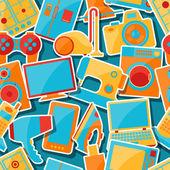 Huis apparaten en elektronica naadloze patronen. — Stockvector