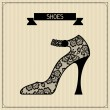 Shoes. Vintage lace background, floral ornament. — Stock Vector