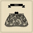 Bags. Vintage lace background, floral ornament. — Stock Vector