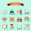Set of retro wedding icons and design elements. — Stock Vector #30867197