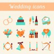 Set of retro wedding icons and design elements. — Stock Vector