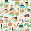 Seamless wedding pattern in retro style. — Stock Vector
