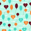Seamless pattern with balloons in retro style. — Vector de stock