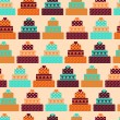 Seamless pattern with cakes in retro style. — Stock Vector