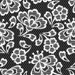 Old lace seamless pattern, ornamental flowers. Vector texture. — Stock Vector