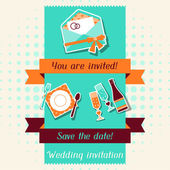Wedding invitation card template in retro style. — Stock Vector