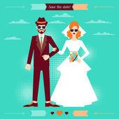 Wedding invitation card template in retro style. — Stock Vector