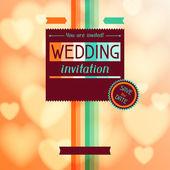 Wedding invitation card in retro style. — Stock Vector