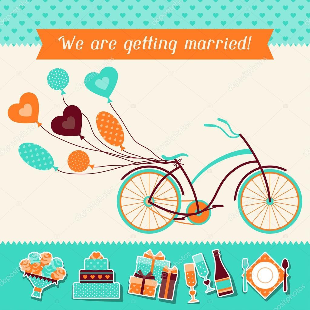 Wedding invitation card template in retro style Vector – Template Invitation Card