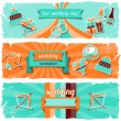 Wedding invitation horizontal banners in retro style. — Stock Vector #31095311