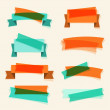 Set of retro ribbons, banners and design elements. — Stok Vektör