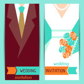 Wedding invitation vertical cards in retro style. — Stock Vector