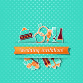 Wedding invitation card with stickers in retro style. — Stock Vector