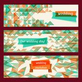 Wedding invitation horizontal banners in retro style. — Stock Vector