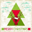 Merry Christmas background with deer in hipster style. — Stock Vector #31360993