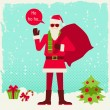 Merry Christmas background with Santa in hipster style. — Stock Vector