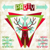 Merry Christmas background with deer in hipster style. — Stock Vector
