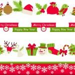 Merry Christmas seamless borders. — Stock Vector