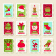 Set of postal stamps with Christmas and New Year symbols. — Stock Vector