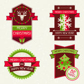 Merry Christmas banners, ribbons and badges. — Stock Vector