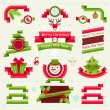 Stock Vector: Merry Christmas banners, ribbons and badges.