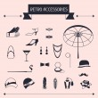 Retro personal accessories, icons and objects of 1920s style. — Stock Vector