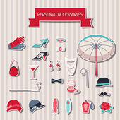 Retro personal accessories stickers of 1920s style. — Stock Vector