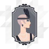 Retro background with beautiful girl of 1920s style. — Stock Vector