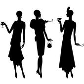 Silhouettes of beautiful girl 1920s style. — Stock Vector