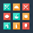 Collection flat icons food and drink for web design. — Stok Vektör