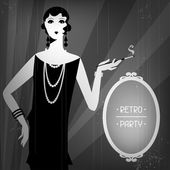 Retro party background with beautiful girl of 1920s style. — Stock Vector
