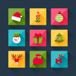 Set of christmas icons in flat design style. — Stockvectorbeeld