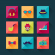 Set of hipster icons in flat design style. — Stock Vector