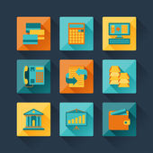 Set of business icons in flat design style. — Stock Vector