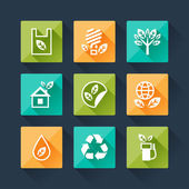 Set of eco icons in flat design style. — Stock Vector
