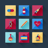 Set of medical icons in flat design style. — Stock Vector
