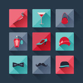 Set of retro fashion icons in flat design style. — Stock Vector
