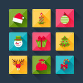 Set of christmas icons in flat design style. — Stock Vector