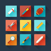 Set of education icons in flat design style. — Stock Vector