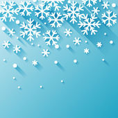 Abstract background with snowflakes in flat design style. — Stock Vector