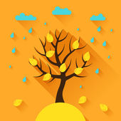 Background with autumn tree in flat design style. — Stock Vector