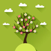Background with spring tree in flat design style. — Stock Vector