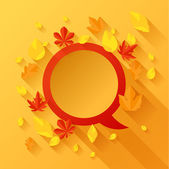 Background with autumn leaves in flat design style. — Stock Vector