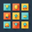 Trophy and awards icons set in flat design style. — Stock Vector #32532783