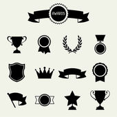 Trophy and awards icons set. — Stock Vector