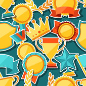 Seamless pattern with trophy and awards stickers. — Stock Vector