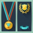 Certificate templates with trophies and awards. — Stock Vector #32574183